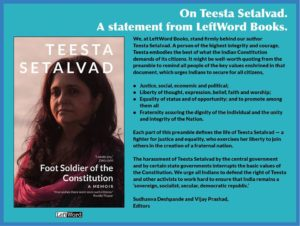 In solidarity with Teesta Setalvad